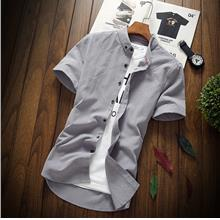 New Korean Version Men's Cotton Short-sleeved Shirt