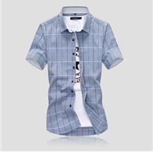Casual Men's Plaid Short-sleeved Cotton Lapel Shirt