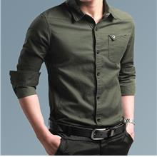 New Men's Cotton Long-sleeved Casual Shirt