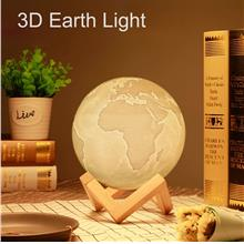 3D Print Moon Lamp Rechargeable with Wooden Mount Pat Control LED Nigh..