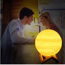 3D Printing Moon Light with Wooden Mount Dual Color Touch LED Night Li..