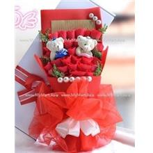 Valentines Romantic Gift 33 Rose with Teddy Bear Bouquet RED