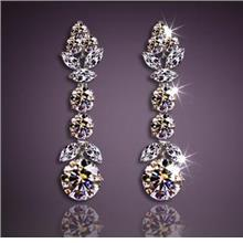 Luxury Platinum Silver Austrian Crystal Diamond Earrings