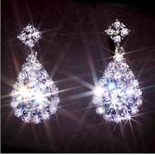 Swiss 925 Sterling Silver Austrian Crystal Diamond Earrings Stud