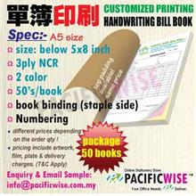 CUSTOMIZED PRINTING Bill Book A5(3ply NCR)2color@50books