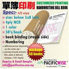 CUSTOMIZED PRINTING Bill Book A5(4ply NCR)1color@50books