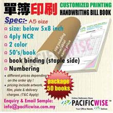 CUSTOMIZED PRINTING Bill Book A5(4ply NCR)2color@50books