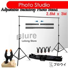 Portable Backdrop Photo Shoot Studio 2.6M x 3M Adjustable Stand