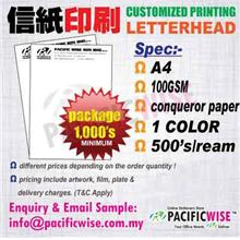 CUSTOMIZED PRINTING Letter HeadA4(100gsm Conqueror)1color@1000's