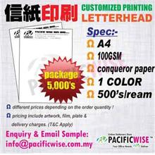 CUSTOMIZED PRINTING Letter HeadA4(100gsm Conqueror)1color@5000's