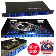 "12/24 Port Fiber optic patch panel SC simplex 19"" 1U Preloaded 24* SC Adapter+"