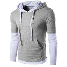 PANEL FAUX TWINSET HOODED DRAWSTRING T-SHIRT (LIGHT GRAY)