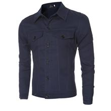 CASUAL LETTER PRINT POCKET DECORATION MALE LONG SLEEVE JACKET (DEEP BLUE M/L/X