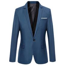 STYLISH PURE COLOR TURN DOWN COLLAR MALE SLIM FIT SUIT (DEEP BLUE M/L/XL/2XL/3