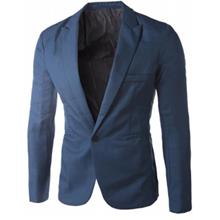 CASUAL TAILORED COLLAR SINGLE BUTTON SOLID COLOR BLAZER FOR MEN (SAPPHIRE BLUE