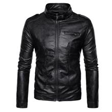 STAND COLLAR EPAULET FAUX LEATHER ZIP UP JACKET (BLACK)