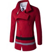 TURNDOWN COLLAR OBLIQUE SINGLE BREASTED STIRPE WOOL COAT (RED)