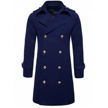 TURNDOWN COLLAR DOUBLE BREASTED PEACOAT (CADETBLUE)