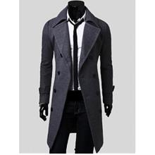 DOUBLE BREASTED OVERCOAT WITH SIDE POCKETS (GRAY)