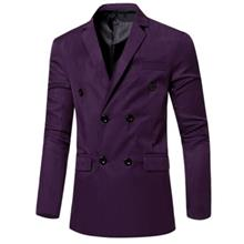 SIMPLE DESIGN SOLID COLOR POCKET DECORATION DOUBLE-BREASTED MALE SUIT JACKET (