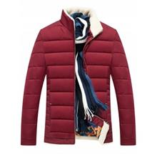 STAND COLLAR ZIPPER UP QUILTED JACKET (WINE RED)