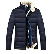 STAND COLLAR ZIPPER UP QUILTED JACKET (PURPLISH BLUE)