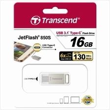 TRANSCEND 16GB USB3.1 TYPE-C JETFLASH JF850S FLASH DRIVE (TS16GJF850S) SIL
