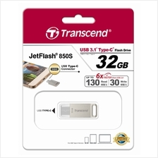 TRANSCEND 32GB USB3.1 TYPE-C JETFLASH JF850S FLASH DRIVE (TS32GJF850S) SIL