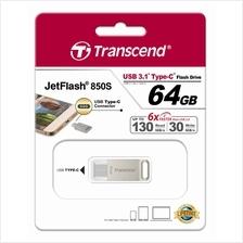 TRANSCEND 64GB USB3.1 TYPE-C JETFLASH JF850S FLASH DRIVE (TS64GJF850S) SIL