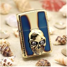 Zippo Lighter 3 Dimensional Skull Secnted Gold (ZBT-3-120A)