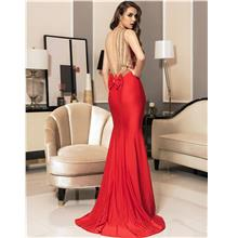CELLY Red Backless Formal Evening Dress Golden Strap(CSOH V1017-2P)