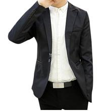 Men Coat- casual self cultivation suit- Black