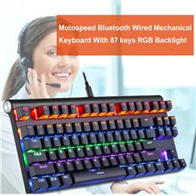 Motospeed Bluetooth Wired Mechanical Keyboard With 87 keys RGB Backlig..