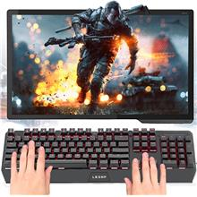 LESHP Wired USB Red Backlight Luminescent Multimedia Mechanical Game K..