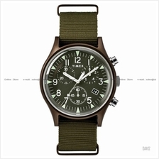 TIMEX TW2R67800 (U) Military Aluminium chrono slip-thru nylon green
