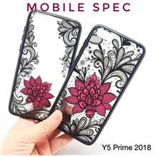 HUAWEI Y5 Y6 Y7 Y9 PRIME 2018 SEXY BLACK LACE FLOWER BACK CASE