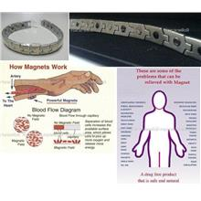3in1: BIO ENERGY STAINLESS STEEL BRACELET with MAGNETS + NEGATIVE ION