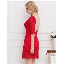 CELLY Red Short Sleeve Round Neck Lace Bodycon Dress (CSOH V1046-2)