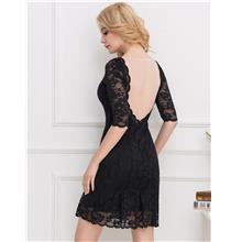 CELLY Plus Size Black Sexy Round Neck Lace Bodycon Dress(CSOH V1046-1)