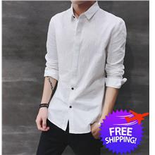 Korean Fashion Men Long Sleeve Slim Fit Casual Shirt