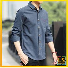 Korean Fashion Men Long Sleeve Slim Fit Smart and Casual Shirt