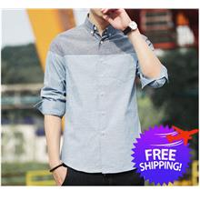 Stylish Men Long Sleeve Matched Color Slim Fit Casual Shirt