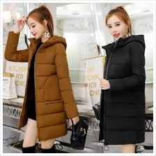 SIMPLE Basic Hoodie Middle Length Thicken Women Winter Jacket Coat (5