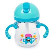 RIKANG 400ML CARTOON PRINT DRINKING STRAW BOTTLE SIPPY CUP WITH HANDLES FOR BA