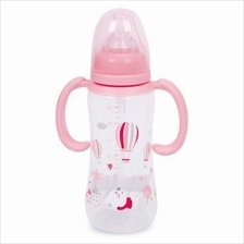 RIKANG 240ML CUTE CARTOON PRINT NIPPLE FEEDING BOTTLE WITH HANDLES FOR INFANT