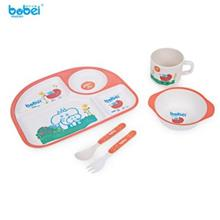 BOBEI ELEPHANT 5PCS CUTE CARTOON PRINTED KIDS TABLEWARE SET PLATE / SPOON / FO