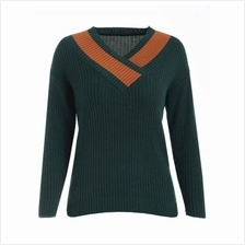 Fitted V Neck Sweater (DARK GREEN)