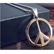 Peace No War Stainless Steel Pendant Chain Necklace Tag
