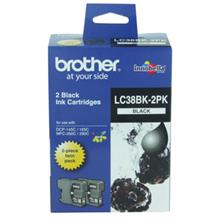 GENUINE BROTHER LC-38 TWIN BLACK INK CARTRIDGE **NEW**SEALED BOX