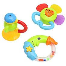 3PCS BABY COLORFUL HAND SHAKE BELL RING RATTLE FEEDER EDUCATIONAL TOY (#2)